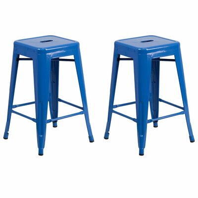 Sachs 24 Bar Stool Color: Blue