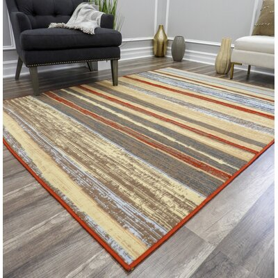 Moya Striped Red/Beige Area Rug Rug Size: Rectangle 5 x 7