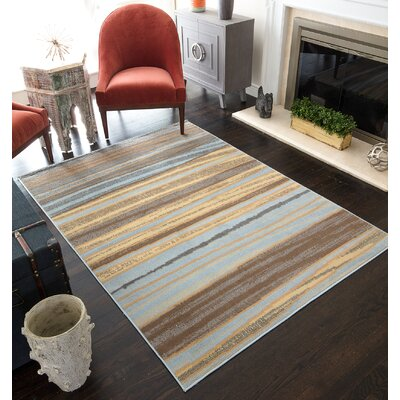 Nolasco Striped Blue/Gray Area Rug Rug Size: Rectangle 8 x 10