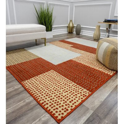 Jaswani Red Area Rug Rug Size: Rectangle 5 x 7