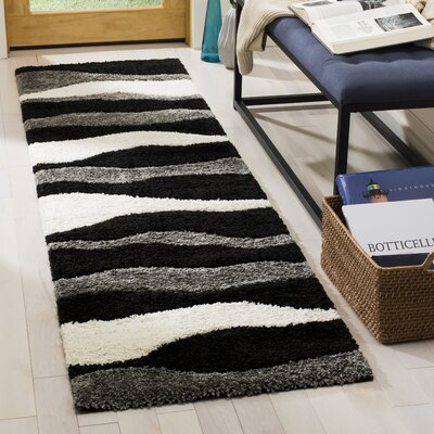 Stacie Gray/Black Area Rug Rug Size: Runner 23 x 8