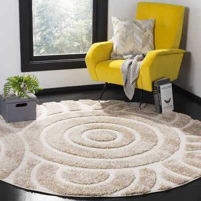 Mckay Woven Cream Area Rug Rug Size: Round 67