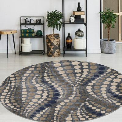 Fulop Gray Abstract Area Rug Rug Size: Round 53
