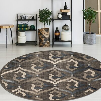 Fulop Brown Area Rug Rug Size: Round 53