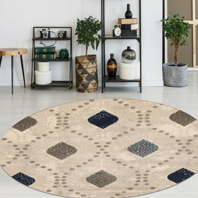 Fulop Bone Abstract Area Rug Rug Size: Round 53