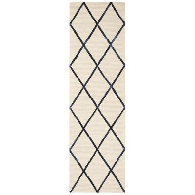 Oon Hand-Woven Wool Ivory/Navy Area Rug Rug Size: Runner 23 x 8