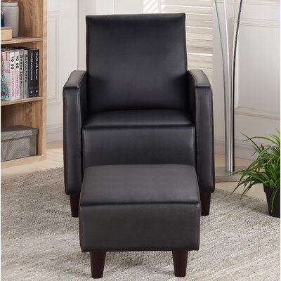 Christner Armchair and Ottoman Upholstery: Black