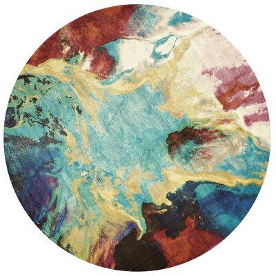 Ehlert Nebula Blue/Brown/Ivory Area Rug Rug Size: Round 710 x 710