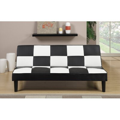 Sirna Adjustable Sofa Upholstery: Faux Leather, Finish: Black/White