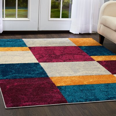 Dufresne Geometric Purple/Yellow Area Rug Rug Size: 710 x  106