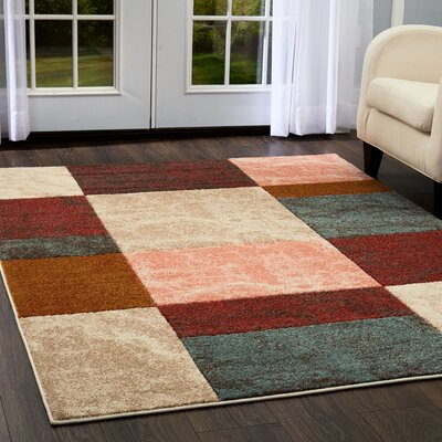 Dufresne Geometric Brown/Red Area Rug Rug Size: 15 x  27