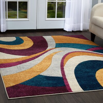 Dufresne Purple/Yellow Area Rug Rug Size: 52 x 72