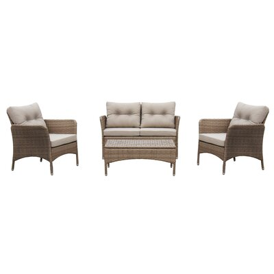 Oralia 4 Piece Deep Seating Group with Cushion