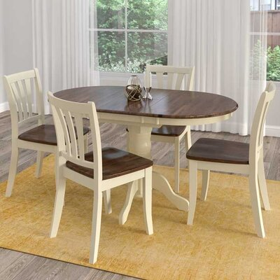 Wallace 5 Piece Dining Set Finish: Dark Brown/Cream