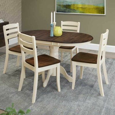 Liggett 5 Piece Solid Wood Dining Set Finish: Dark Brown/Cream