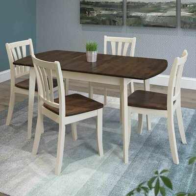 Wallace 5 Piece Extendable Dining Set Finish: Dark Brown/Cream