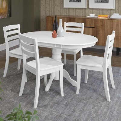 Liggett 5 Piece Solid Wood Dining Set Finish: White
