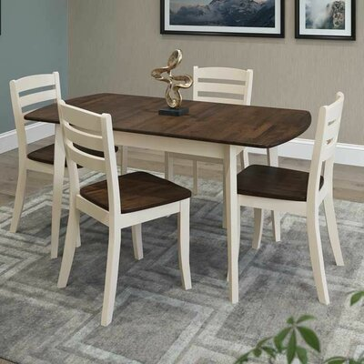Liggett 5 Piece Wood Dining Set Finish: Dark Brown/Cream