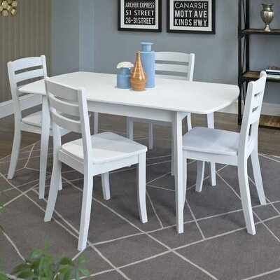 Liggett 5 Piece Wood Dining Set Finish: White