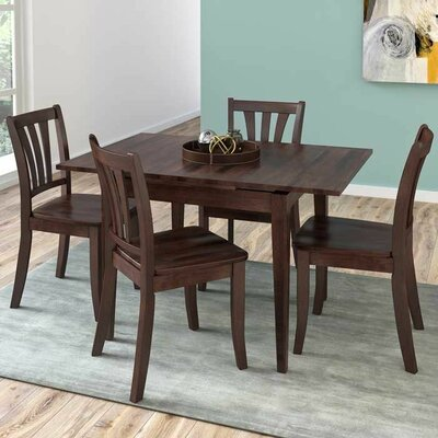 Wallace 5 Piece Extendable Wood Dining Set Finish: Cappuccino