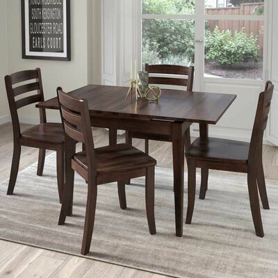 Wallace 5 Piece Cream Frame Dining Set Finish: Cappuccino