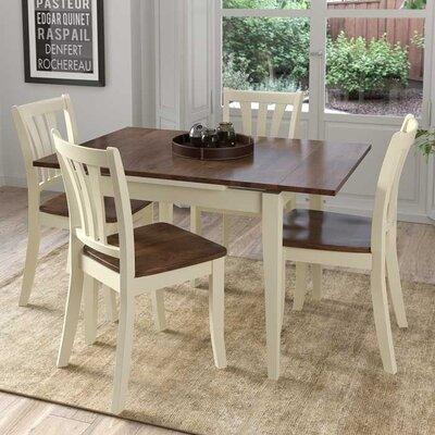 Liggett 5 Piece Extendable Wood Dining Set Finish: Dark Brown/Cream