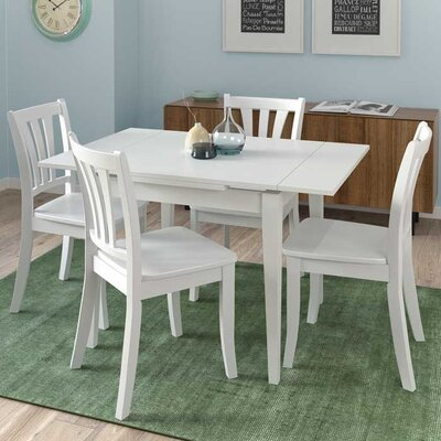 Liggett 5 Piece Extendable Wood Dining Set Finish: White