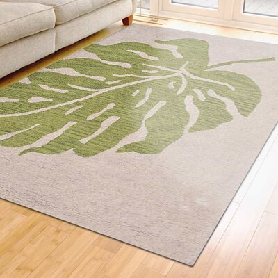 Deadra Floral Hand-Tufted Beige/Green Area Rug Rug Size: 5 x 8