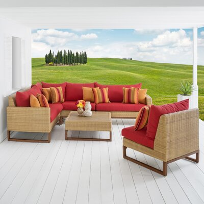 Addison 6 Piece Sectional Seating Group with Cushions Fabric: Sunset Red
