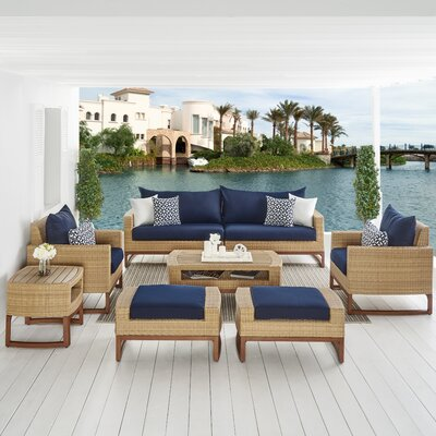 Addison 8 Piece Deep Seating Group with Cushions Fabric: Navy Blue