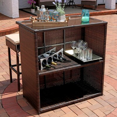 Elizabethtown 3-Piece Wicker Rattan Outdoor Patio Bar Set