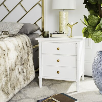 Aylin 3 Drawer Nightstand Finish: White