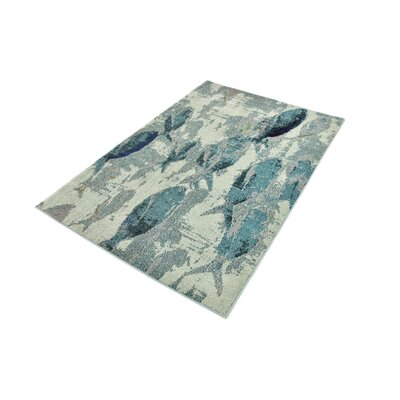 Ethel�Stain Resistant Light Blue Area Rug Rug Size: Rectangle 9 x 12