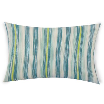Mary-Kate Striped Down Filled 100% Cotton Lumbar Pillow Color: Aqua Green