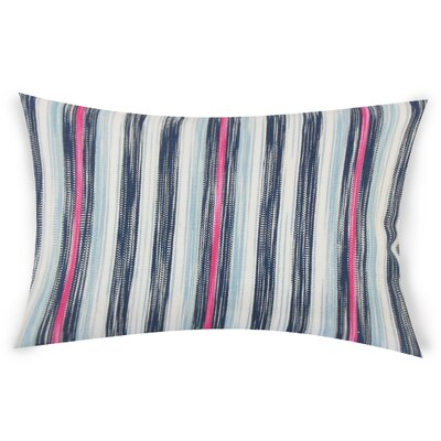 Mary-Kate Striped Down Filled 100% Cotton Lumbar Pillow Color: Blue