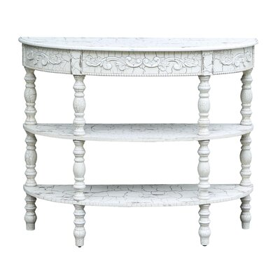 Mererid Antique Crackled Demilune Console Table