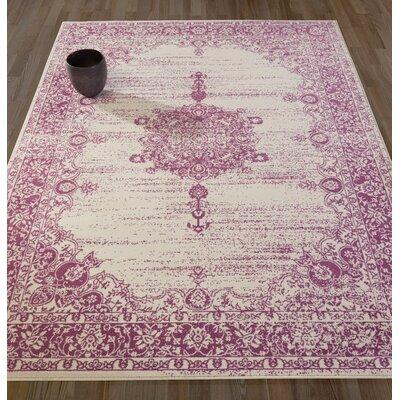 Zander Medallion Ivory/Purple Area Rug Rug Size: 710 x 910