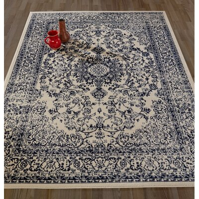 Samuel Gray/Ivory Area Rug Rug Size: Rectangle 53 W x 73 L