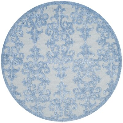Dickinson Hand-Tufted Blue Area Rug Rug Size: Round 5