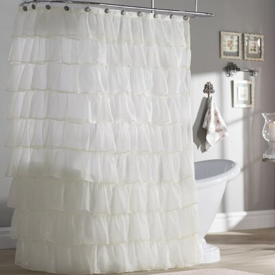 Atia Voile Ruffled Tier Shower Curtain Color: White