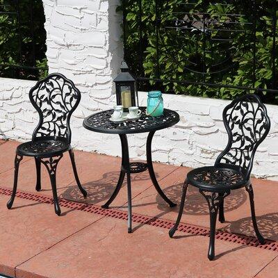 Moravia Outdoor Garden Patio Cast Aluminum 3-Piece Bistro Set Color: Black