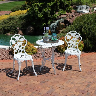 Montour Flower Designed Cast Aluminum 3-Piece Bistro Set