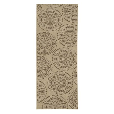 Genoa Damask Medallions Power Loom Beige Indoor/Outdoor Area Rug Rug Size: Runner 27 x 7