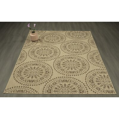 Genoa Damask Medallions Power Loom Beige Indoor/Outdoor Area Rug Rug Size: 53 X 73