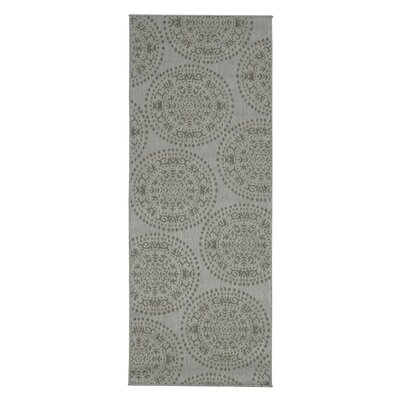 Genoa Damask Medallions Power Loom Gray Indoor/Outdoor Area Rug Rug Size: Runner 27 x 7