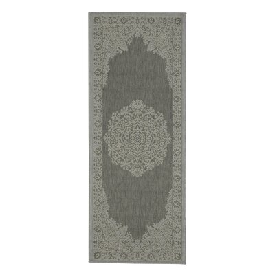Genoa Damask Medallions Power Loom Light Gray Indoor/Outdoor Area Rug Rug Size: Runner 27 x 7