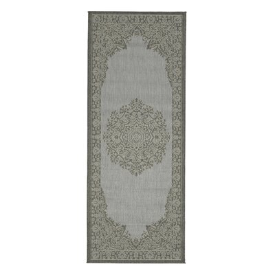 Genoa Damask Medallions Power Loom Dark Gray Indoor/Outdoor Area Rug Rug Size: Runner 27 x 7