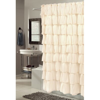 Atia Voile Ruffled Tier Shower Curtain Color: Ivory