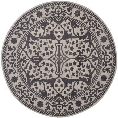 Ellicottville Hand-Tufted Silver/Gray Area Rug Rug Size: Round 6