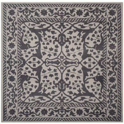 Ellicottville Hand-Tufted Silver/Gray Area Rug Rug Size: Square 6